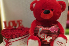 red roses boxed with love teddy bear
