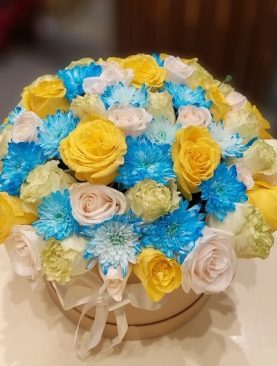 Chrysanthemums and Roses Floral Bouquet