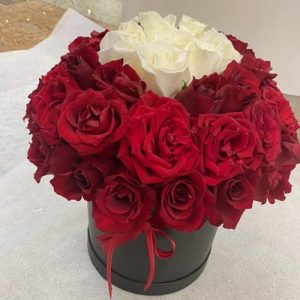 red and white roses boxed
