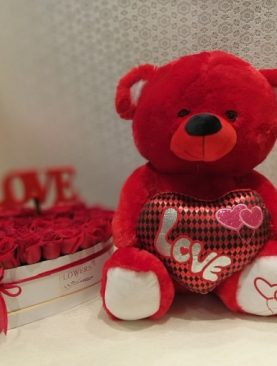 Red Roses in Gift Box with Teddy Bear