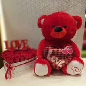 red roses, teddy bear, gift, flowers