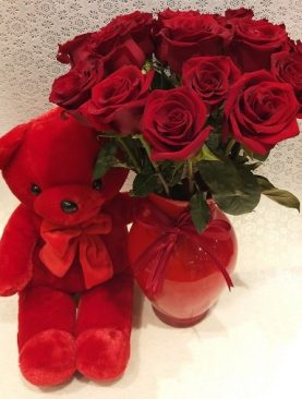 Red Roses in Glass Vase with Teddy bear