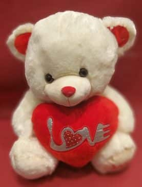 Teddy Bear White Holding Red I Love You Heart