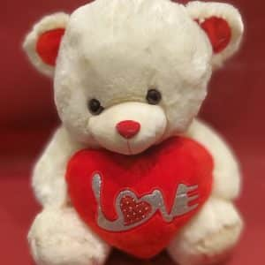 teddy bear white with love heart to go with flowers