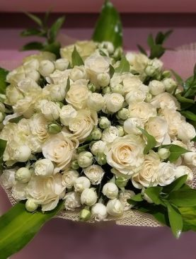 Bouquet of Roses and Baby Roses with Foliage