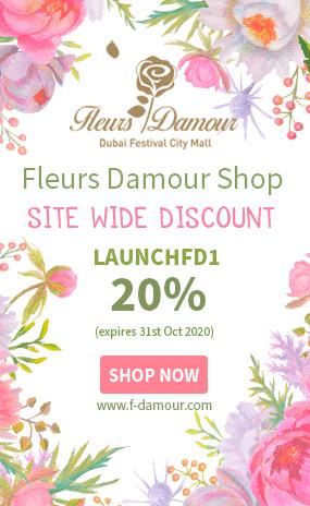fleours damour dubai 20% discount, flowers dubai